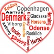 Stock Vector: Denmark Heart and words cloud with larger cities