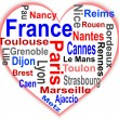 Stock Vector: France Heart and words cloud with larger cities