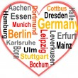 Germany Heart and words cloud with larger cities — Stock Vector