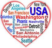 Nube di cuore e parole Usa con le più grandi città — Vettoriale Stock