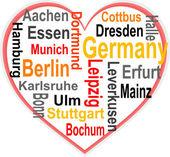 Duitsland hart en woorden wolk met grotere steden — Stockvector