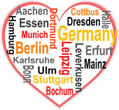Germany Heart and words cloud with larger cities — Vettoriale Stock