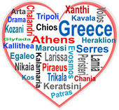 Greece Heart and words cloud with larger cities — Stock Vector
