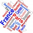 Stock Vector: France map and words cloud with larger cities