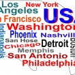 Stock Vector: USmap and words cloud with larger cities