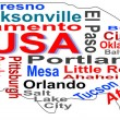 Stock Vector: USmap words cloud with larger americcities