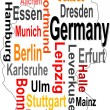 Germany map and words cloud with larger cities — Stock Vector