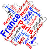 France map and words cloud with larger cities — Stock Vector