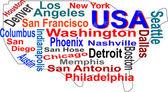 Nube de palabras y mapa usa con ciudades más grandes — Vector de stock