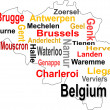 Stock Vector: Belgium map and words cloud with larger cities