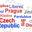 Czech republic map and words cloud with larger cities - Stock Vector