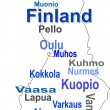 Finland map and words cloud with larger cities - Stock Vector