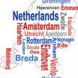 Holland map and words cloud with larger cities - Stock Vector