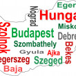 Stock Vector: Hungary map and words cloud with larger cities