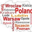 Stock Vector: Poland map and words cloud with larger cities