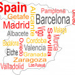 Spain map and words cloud with larger cities — Stockvektor #6044921