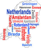 Holland map and words cloud with larger cities — Stock Vector