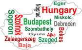 Hungary map and words cloud with larger cities — Stock Vector