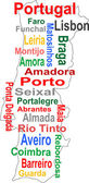 Portugal map and words cloud with larger cities — Stock Vector