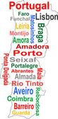 Portugal kaart en woorden wolk met grotere steden — Stockvector