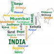 India map and words cloud with larger cities - Stok Vektör