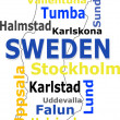 Stock Vector: Sweden map words cloud with larger cities