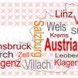 Stock Vector: Austrimap and words cloud with larger cities