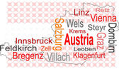 Austria map and words cloud with larger cities — Stock Vector