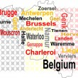 Belgium map and words cloud with larger cities — Stock Vector