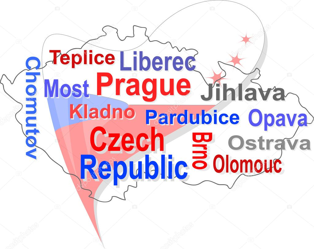 Czech republic map and words cloud with larger cities — ベクター素材ストック #6166629