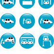 Car Auto service blue button set icon — Stock Vector
