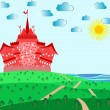 Fairytale landscape with red magic castle — Stock Vector