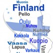 Stock Vector: Finland map and words cloud with larger cities