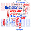 Stock Vector: Holland map and words cloud with larger cities