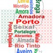 Stock Vector: Portugal map and words cloud with larger cities