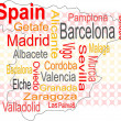 Stock Vector: Spain map and words cloud with larger cities