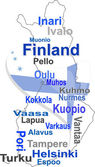 Finland map and words cloud with larger cities — Stock Vector