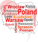 Poland map and words cloud with larger cities — Stock Vector