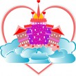 Royalty-Free Stock Vectorielle: Magical fairytale pink castle with heart on sky