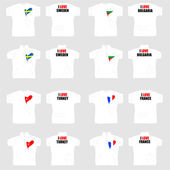 White t shirt with country flags in love heart — Cтоковый вектор