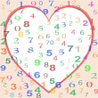 Background made from colorful numbers with love heart — Vector de stock  #6270581
