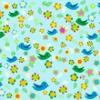 Royalty-Free Stock 矢量图片: Romantic floral background with cartoon birds