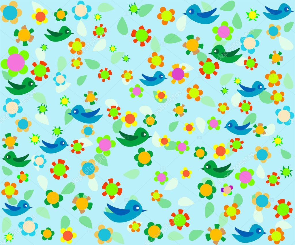 Cartoon birds on blue Romantic floral background — Stock Vector #6401594