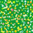 Royalty-Free Stock Vector Image: Cartoon birds on green background with flower decor