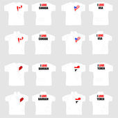 White t shirt with country flags in love heart — 图库矢量图片