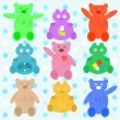 Smile cute cartoon animals wallpaper — Stock vektor