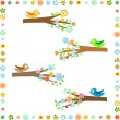 Royalty-Free Stock Vector Image: Birds sitting on different tree branches with flower decor