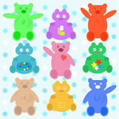 Smile cute cartoon animals wallpaper — Stock Vector