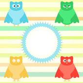 Cute cartoon owl set on colorful background — Stock Vector
