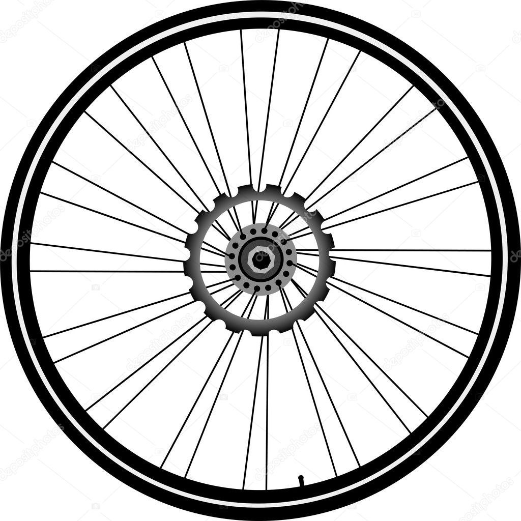 Bike wheel with tire and spokes isolated on white background — Stock Vector #6489723